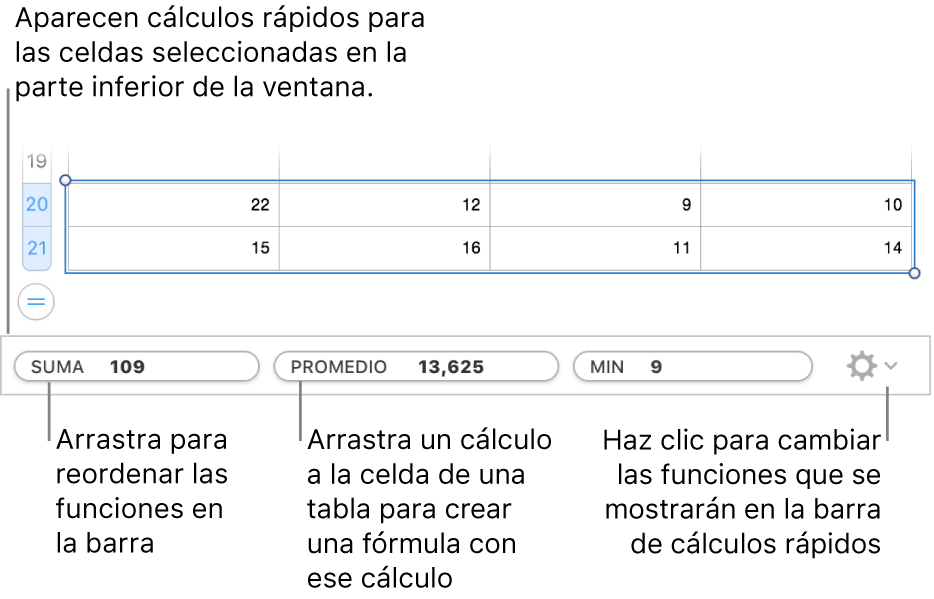 Arrastra para reordenar las funciones, arrastra un cálculo a la celda de una tabla para añadirlo o haz clic en el menú para cambiar las funciones que se muestran.