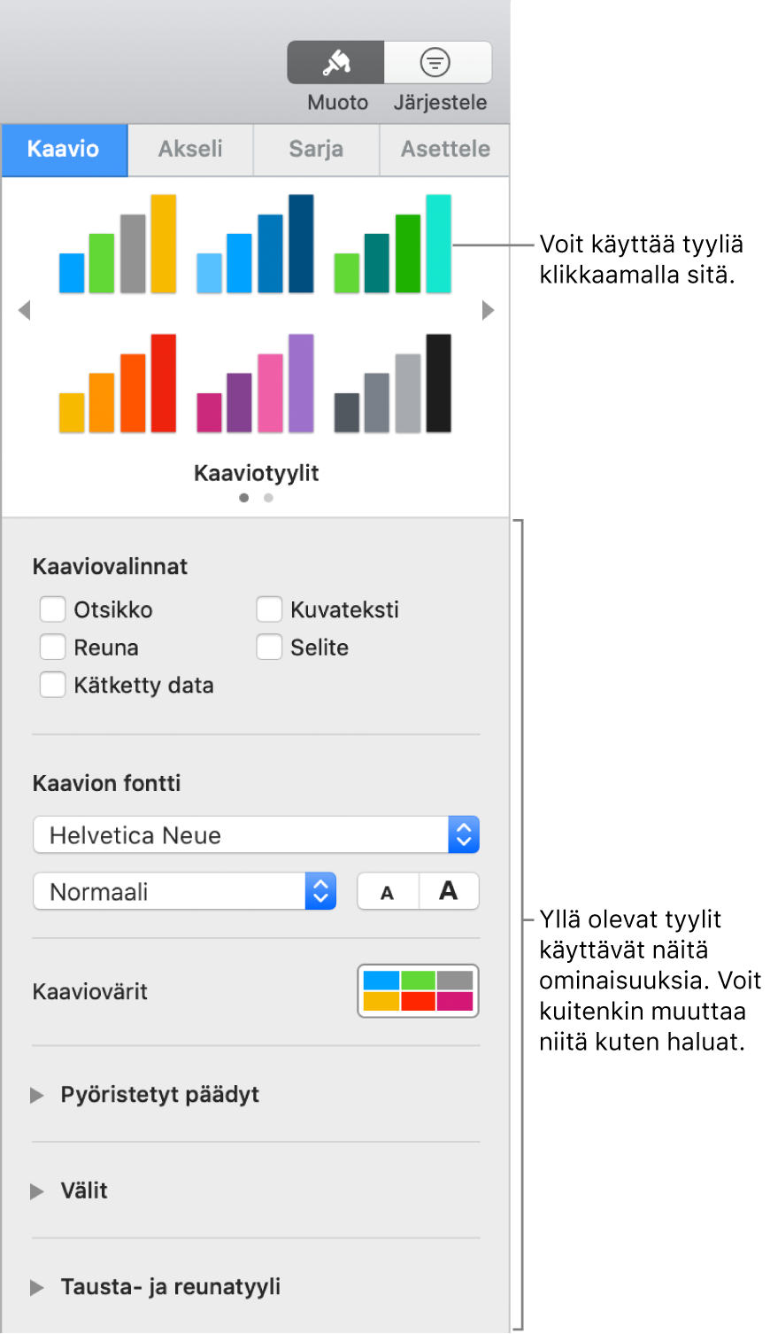 Muotoilun sivupalkki, jossa on näkyvissä kaavioiden muotoilun säätimet.