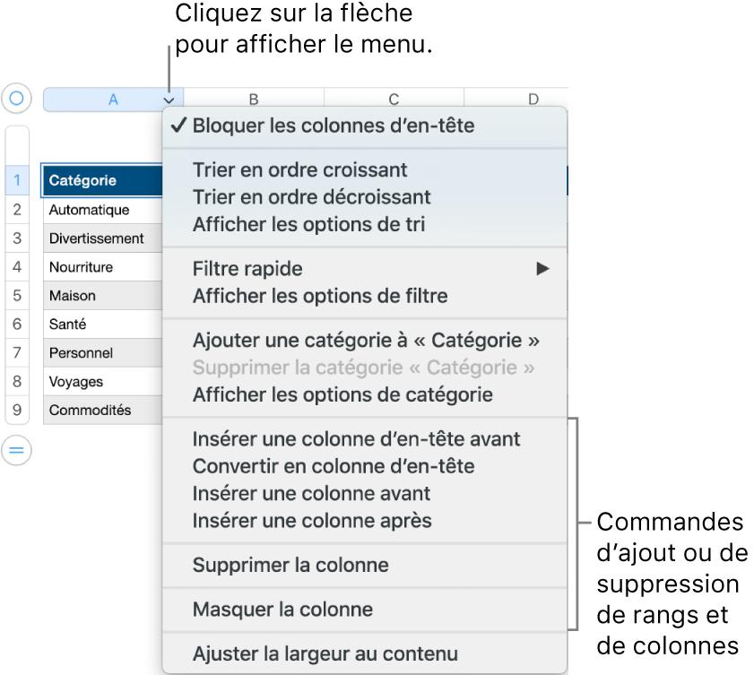 Le menu de colonne de tableau, avec des commandes permettant d'ajouter ou de supprimer des rangées et des colonnes