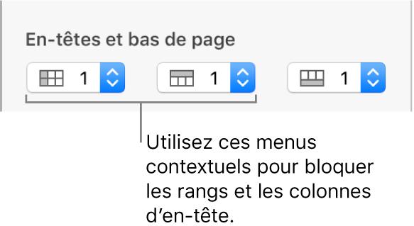 Menus contextuels permettant d'ajouter des colonnes et rangées d'en-tête et de bas de tableau, et de bloquer les rangées et colonnes d'en-tête