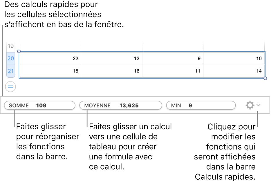 Faites glisser les fonctions pour les réorganiser, faites glisser un calcul vers une cellule de tableau pour l'ajouter ou cliquez sur le menu pour changer les fonctions affichées.