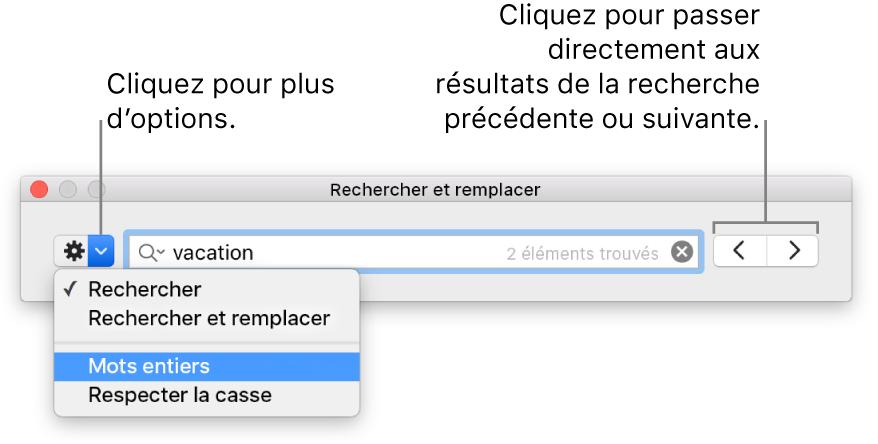 Fenêtre Rechercher et remplacer avec les légendes du bouton pour afficher les options de Rechercher, Rechercher et remplacer, Mots entiers, Respecter la casse. Les flèches à droite vous permettent d'accéder au résultat de la recherche suivant ou précédent.