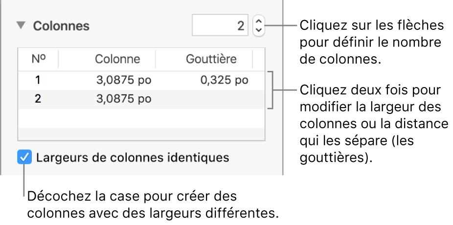 Commandes de la section Colonnes permettant de modifier le nombre de colonnes et leurs largeurs.