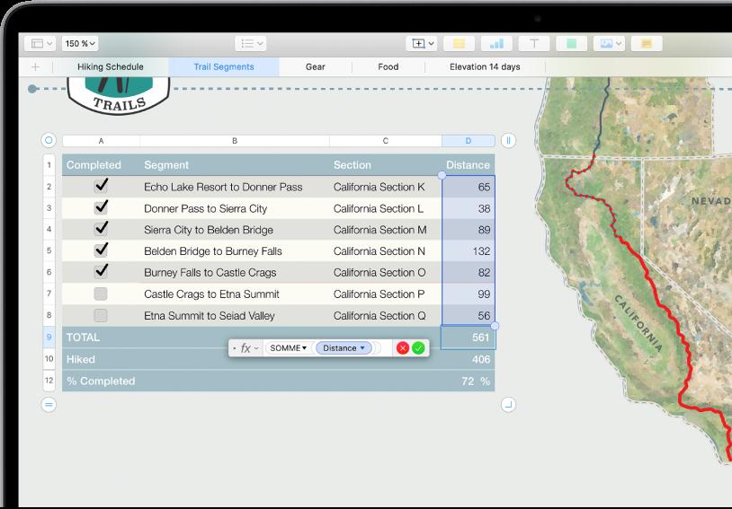 Tableau montrant les distances de randonnée. L'éditeur de formules est ouvert et montre la fonction SOMME pour la colonne Distance.