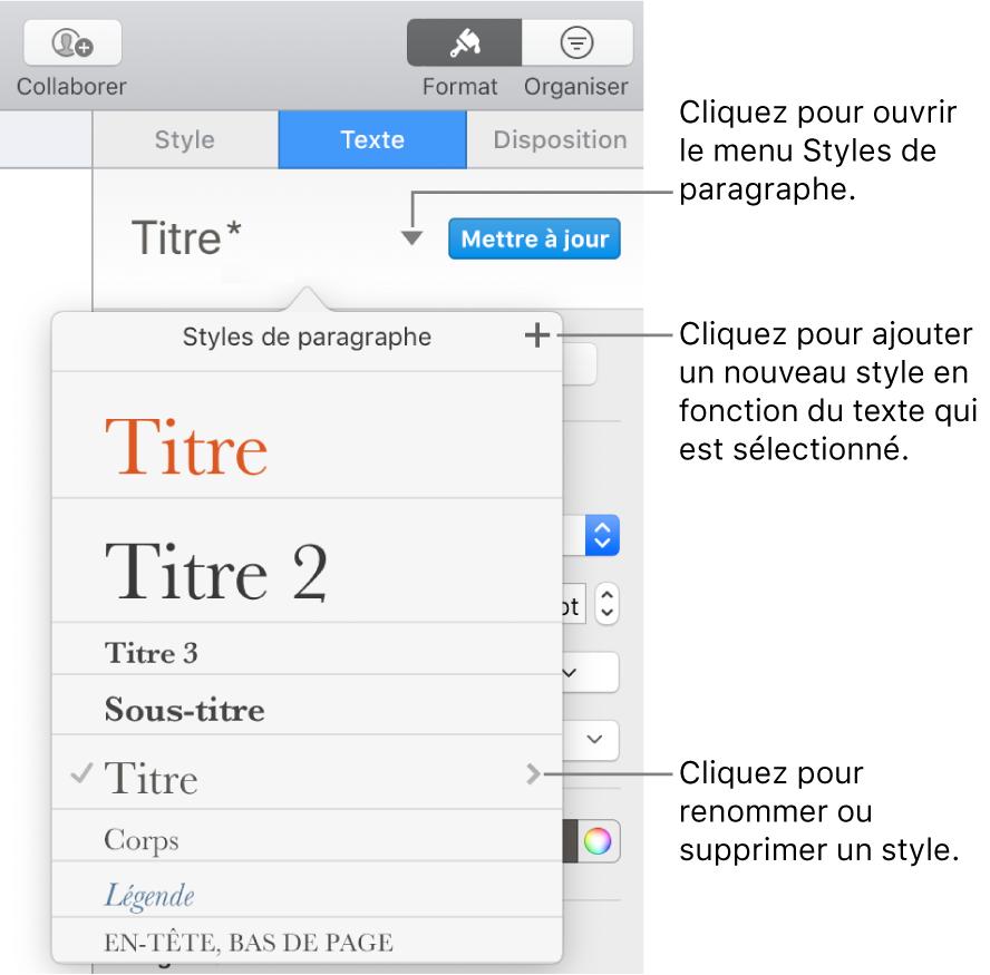 Menu Styles de paragraphe, affichant des commandes pour ajouter ou modifier un style.