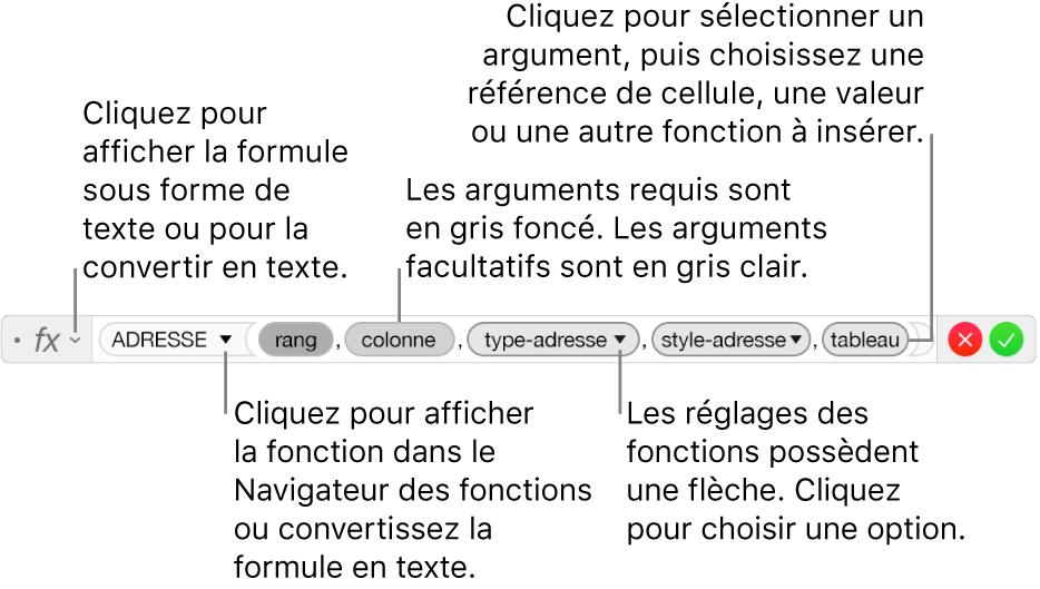 Éditeur de formule affichant la fonction ADRESSE et les jetons d'arguments correspondants.