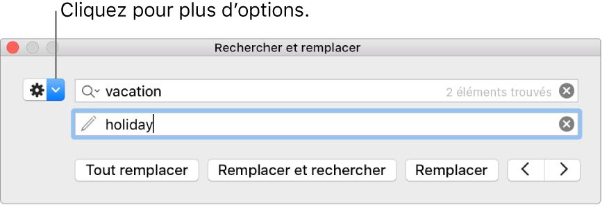 La fenêtre Rechercher et remplacer accompagnée d'une légende pour le bouton permettant d'afficher plus d'options.