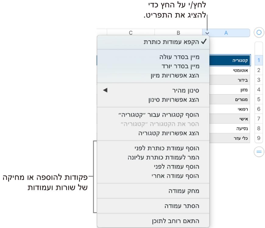 התפריט עמודות טבלה עם פקודות להוספה או מחיקה של שורות ועמודות.