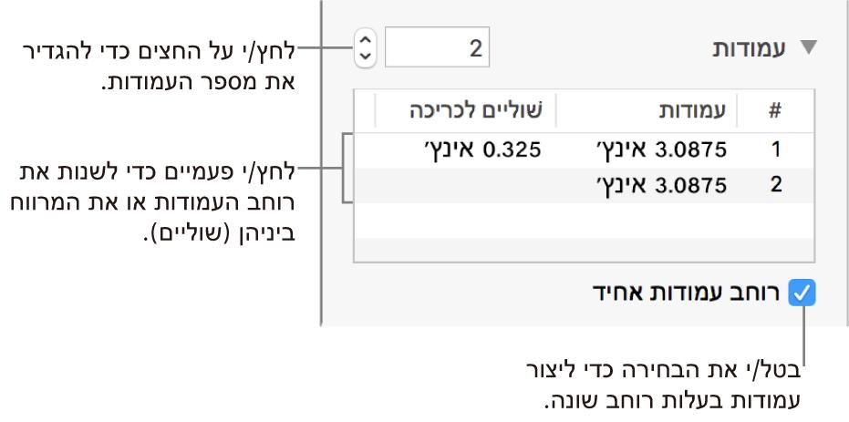 כלי בקרה במקטע העמודות לשינוי מספר העמודות והרוחב של כל עמודה.
