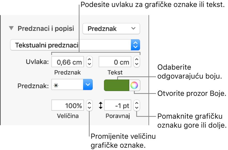 Odjeljak Grafičke oznake i popisi s balončićima za komande za uvlaku grafičke oznake i teksta, boju grafičke oznake, veličinu grafičke oznake i poravnanje.