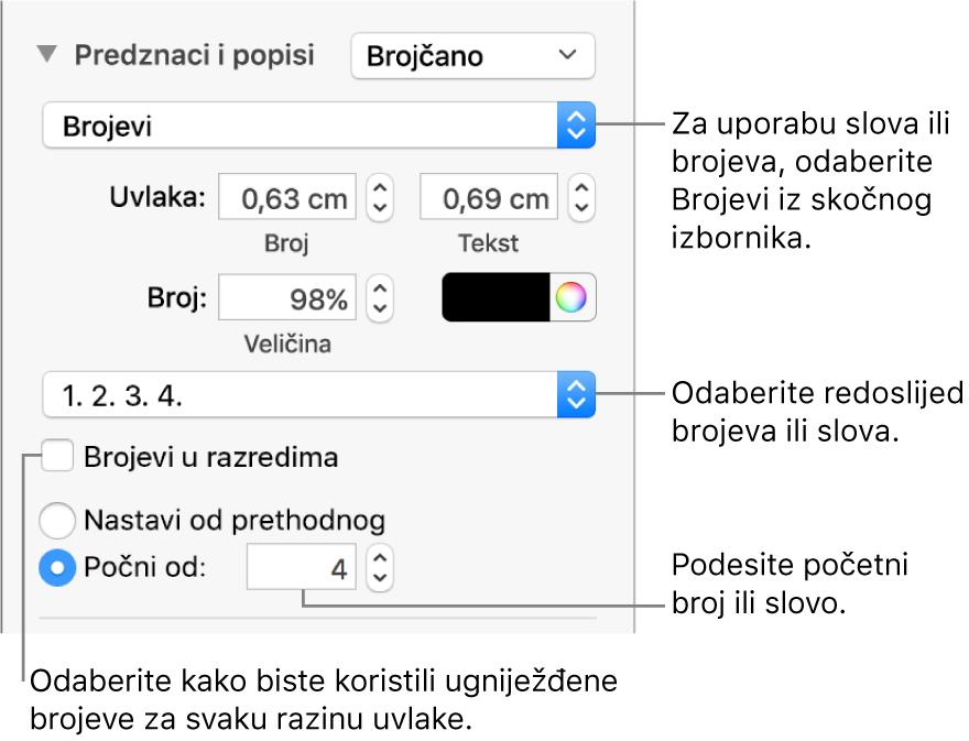 Kontrole za mijenjanje stila brojeva i razmaka između stavki popisa.
