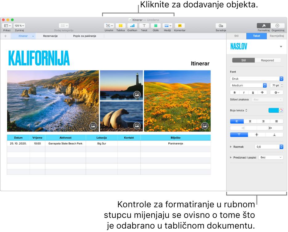 Prozor aplikacije Numbers s otvorenom karticom Tekst u rubnom stupcu Formatiraj.
