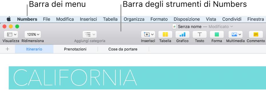 Barra dei menu nella parte superiore dello schermo con i menu Apple, Numbers, File, Modifica, Inserisci, Formato, Disposizione, Visualizza, Finestra e Aiuto. Sotto la barra dei menu si trova un fogli di calcolo di Numbers aperto con i pulsanti della barra degli strumenti nella parte superiore Visualizza, Ridimensiona, Aggiungi Pagina, Inserisci, Tabella, Grafico, Testo, Forma, Multimedia e Commento.