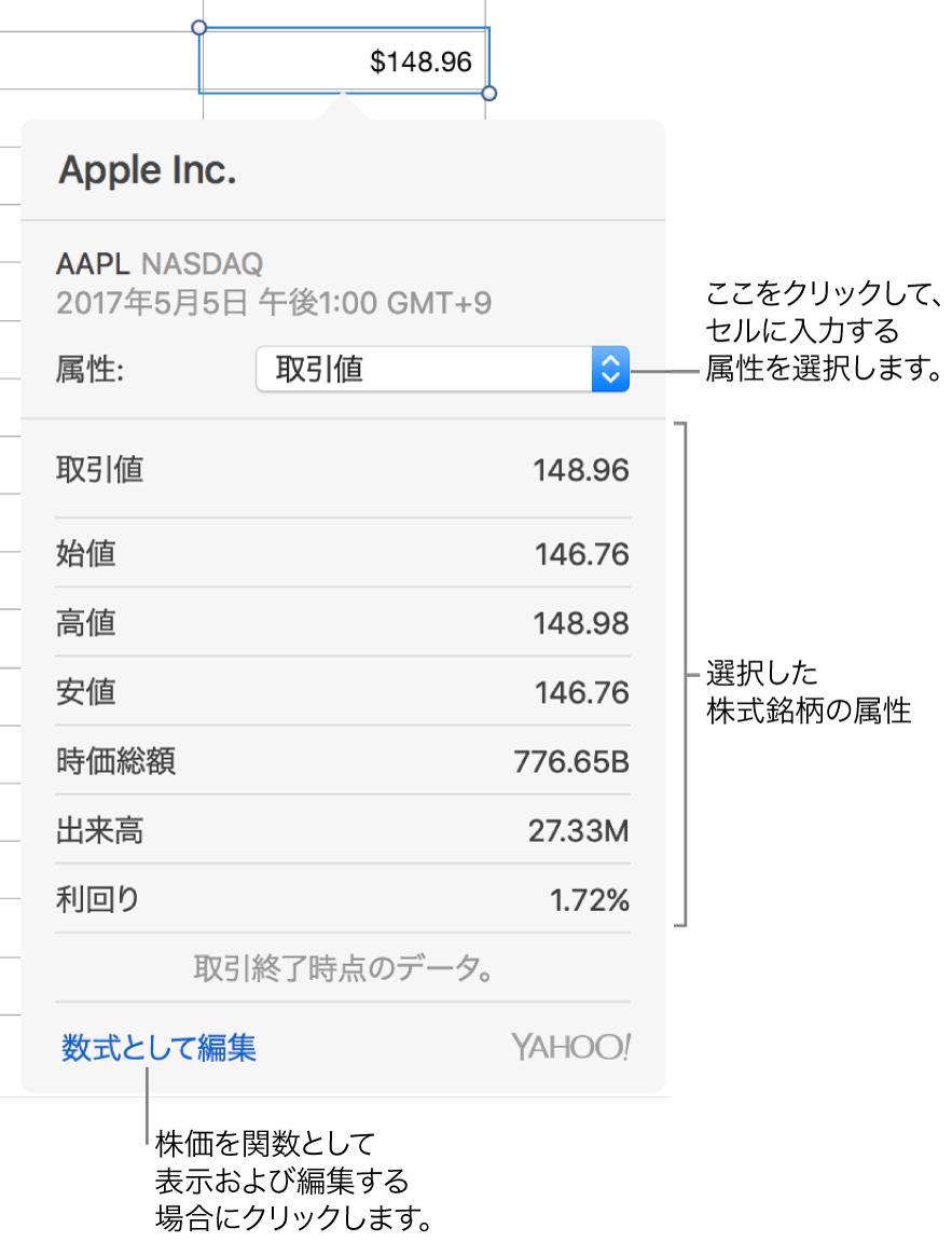銘柄属性情報を入力するためのダイアログ。Appleが銘柄として選択されています。