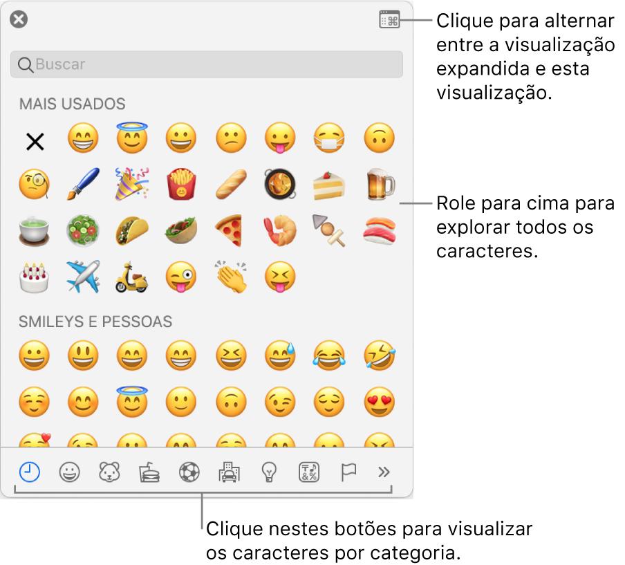 Menu local de Caracteres Especiais mostrando emoticons, botões para diversos tipos de símbolos na parte inferior e uma chamada para um botão para mostrar a janela Caracteres completa.