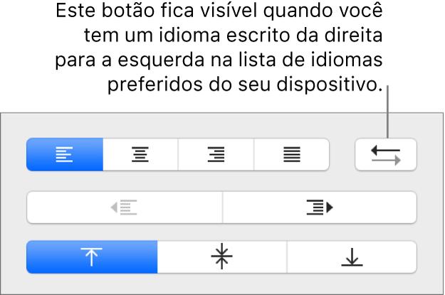 Botão Direção do Parágrafo na seção Alinhamento da barra lateral Formatar.
