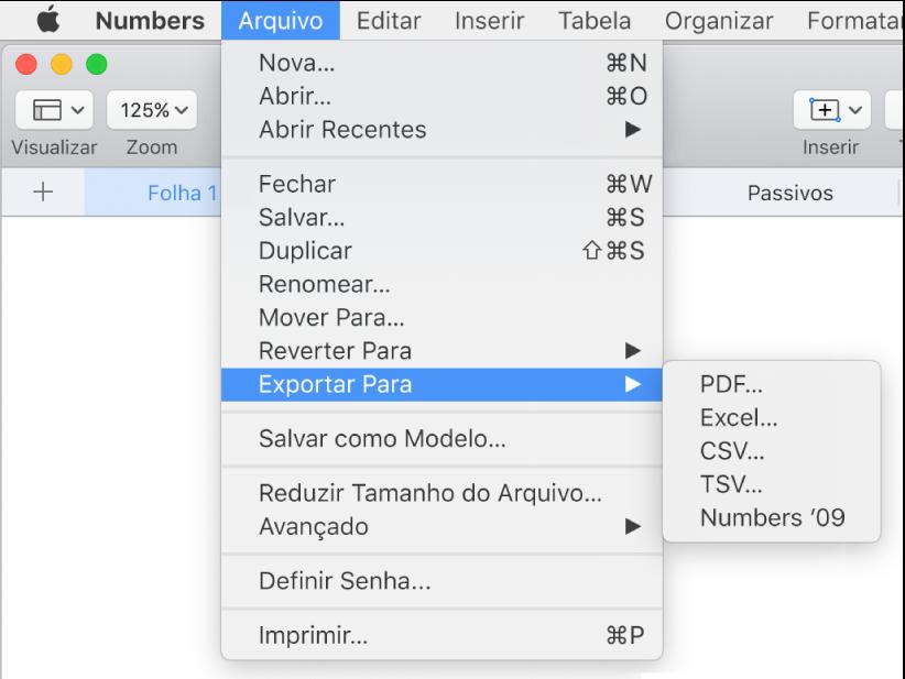 Menu Arquivo aberto com Exportar para selecionado e submenu mostrando opções em PDF, Excel, CSV e Numbers '09.
