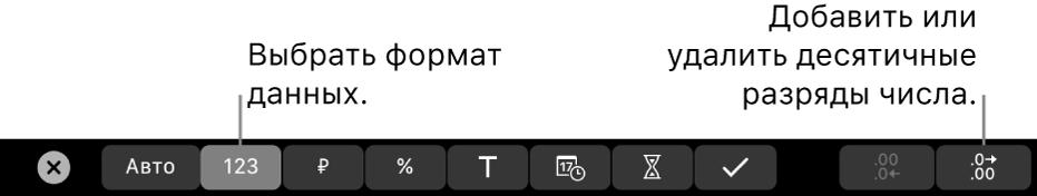 Панель TouchBar наMacBook Pro. Показаны элементы управления для выбора формата данных, атакже добавления иудаления десятичных разрядов вчисле.