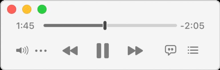 Im verkleinerten Musik-MiniPlayer werden nur die Steuerelemente (und nicht das Albumcover) angezeigt.