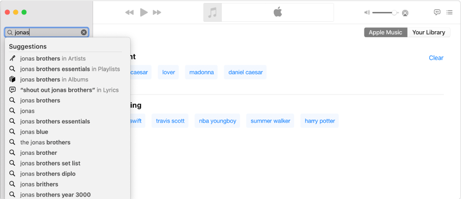 """The Music screen showing Apple Music selected in the top-right corner, and """"Jonas"""" entered in the search field in the top-left corner. Suggested Apple Music results for """"Jonas"""" are displayed in the list below the search field."""