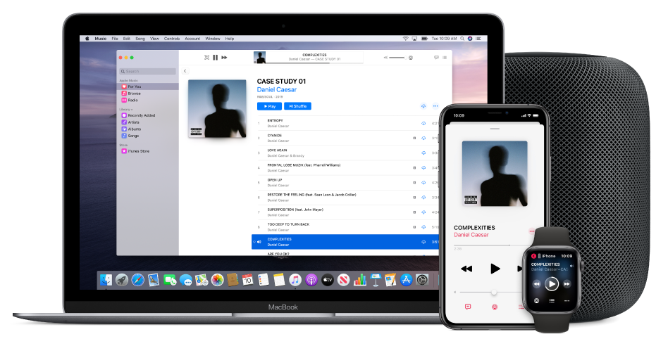 A song playing on a Mac, iPhone, and Apple Watch, with a HomePod.
