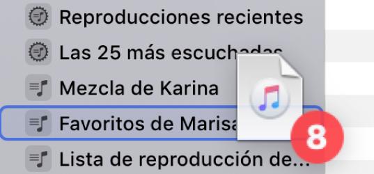 Un álbum que se está arrastrando hasta una lista de reproducción. La lista de reproducción está resaltada con un rectángulo azul.