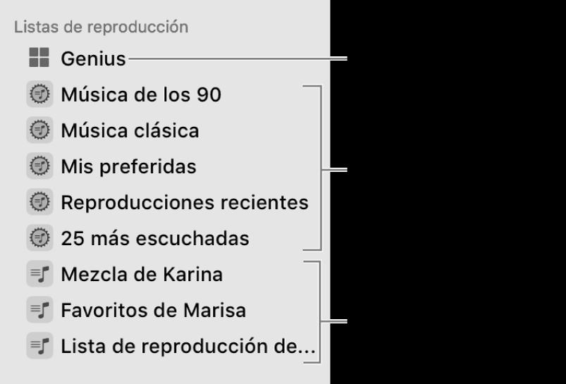 La barra lateral de Música con los distintos tipos de listas de reproducción: listas de reproducción Genius, inteligentes y estándar.