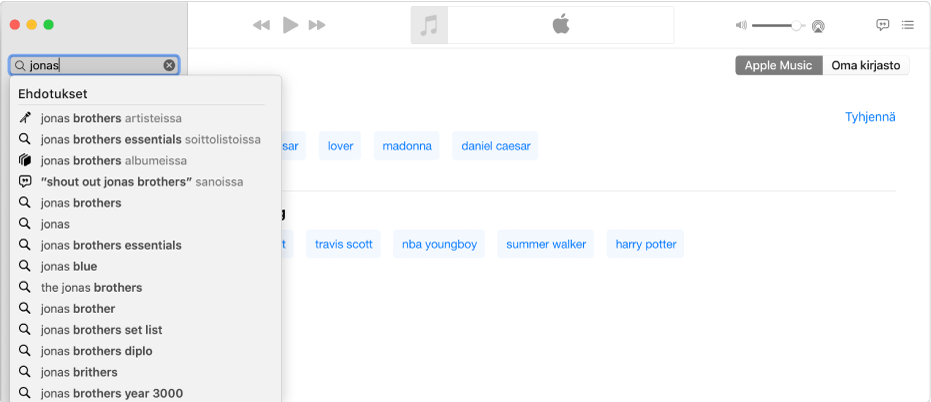 """Musiikki-apin näytössä näkyy AppleMusic valittuna oikeassa yläkulmassa ja teksti """"Jonas"""" hakukentässä vasemmassa yläkulmassa. Luettelossa hakukentän alapuolella näkyvät ehdotetut AppleMusic ‑tulokset haulle """"Jonas""""."""