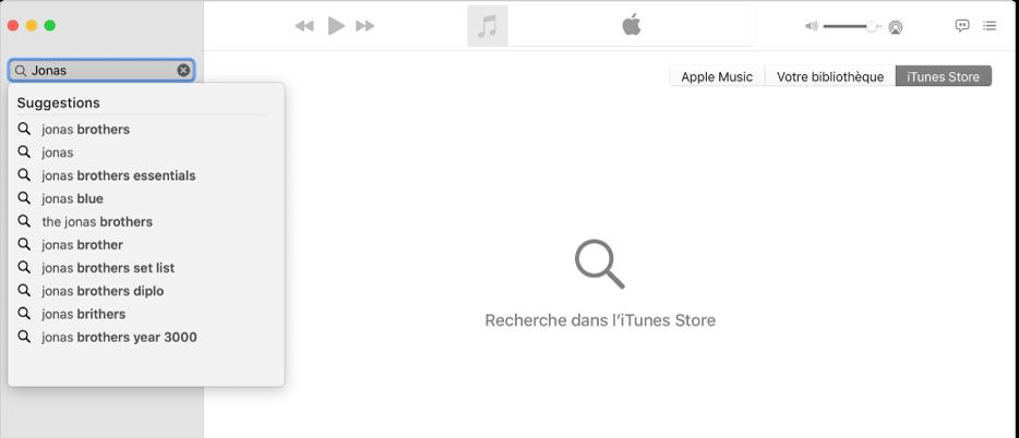La fenêtre Musique affichant l'iTunesStore sélectionné dans le coin supérieur droit, et «Jonas» saisi dans le champ de recherche en haut à gauche. Les résultats suggérés de l'iTunesStore pour «Jonas» s'affichent dans la liste sous le champ de recherche.