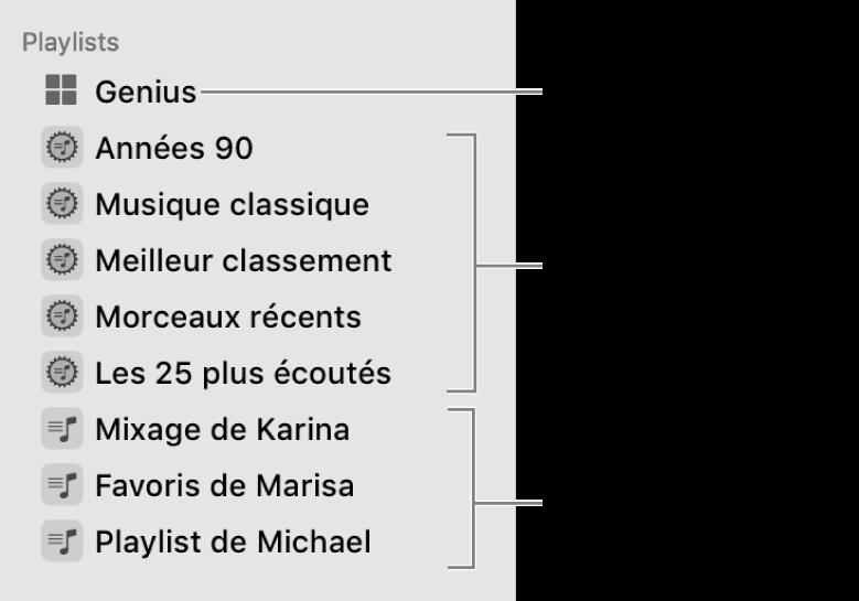 La barre latérale Musique affichant les différents types de playlists: Playlists Genius, intelligente et standard.