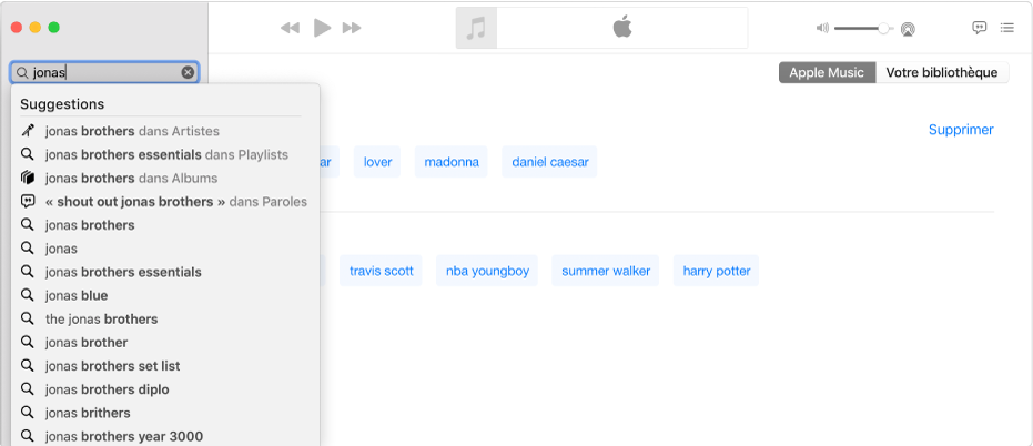 L'écran Musique affichant Musique sélectionné dans le coin supérieur droit, et «Jonas» saisi dans le champ de recherche en haut à gauche. Les résultats suggérés de Musique pour «Jonas» s'affichent dans la liste sous le champ de recherche.