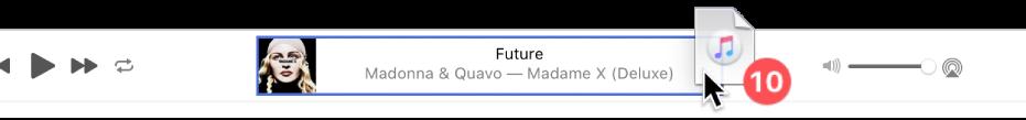 Povlačenje albuma na vrh prozora aplikacije Glazba.