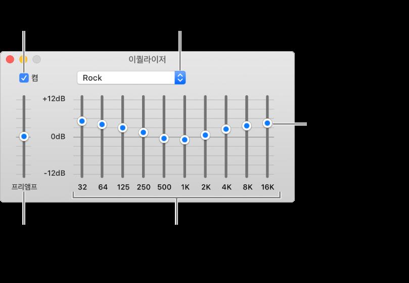이퀄라이저 윈도우: 음악 이퀄라이저 켜기 체크상자는 왼쪽 상단에 있습니다. 옆에는 이퀄라이저 프리셋이 있는 팝업 메뉴입니다. 왼쪽 끝 부분에서는 프리앰프로 주파수의 전체적인 음량을 조절할 수 있습니다. 아래 이퀄라이저 프리셋은 다른 주파수 범위의 소리 레벨을 조정하며, 인간이 들을 수 있는 가장 낮은 소리부터 가장 높은 소리까지의 범위를 나타냅니다.
