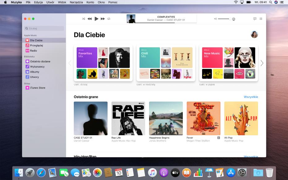 Okno AppleMusic wyświetlające widok Dla Ciebie.