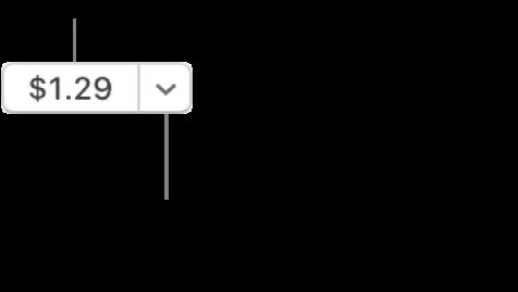 En knapp som visar priset. Klicka på priset för att köpa objektet. Klicka på pilen bredvid priset om du vill ge bort objektet till en vän eller lägga till det i önskelistan med mera.