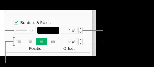 La casilla de verificación Bordes y reglas está seleccionada en la barra lateral Formato, y debajo de la casilla de verificación aparecen controles para cambiar el estilo, el grosor, la posición y el color de la línea.