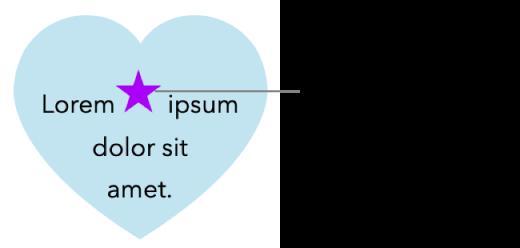 Una stella viene visualizzata in linea con il testo all'interno di un cuore.