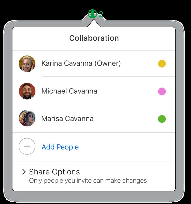 Samarbeid-menyen viser navnene til personene som samarbeider om regnearket. Delingsalternativer vises under navnene.