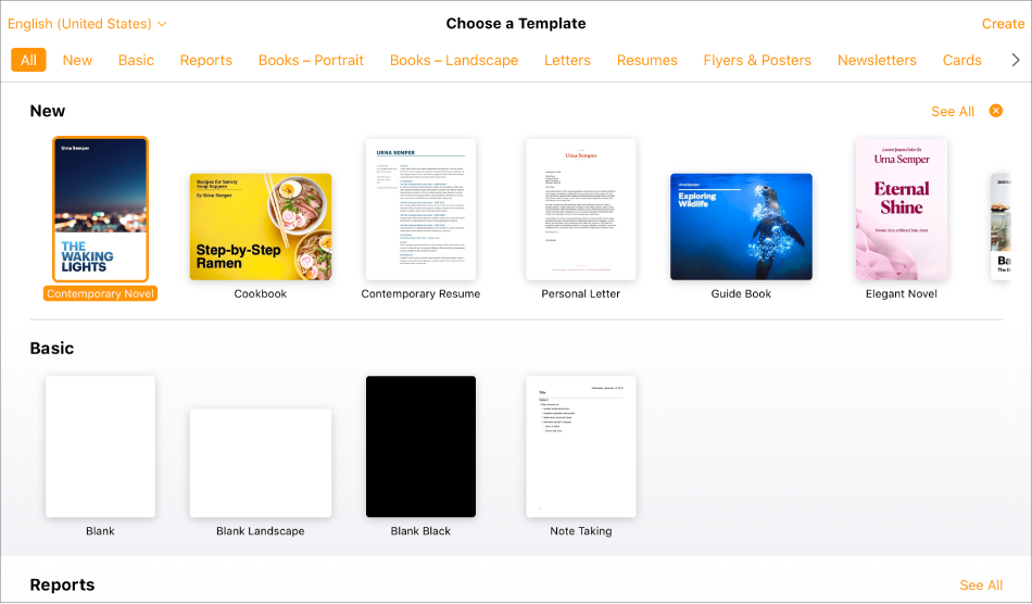 The template chooser showing several template thumbnails. The Contemporary Novel template is selected.