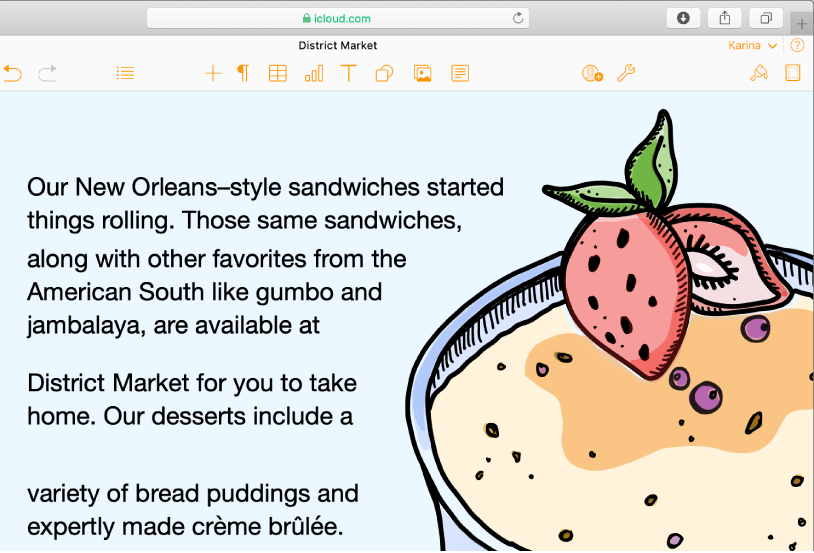 An image of a desert dish in a document, with text flowing around the curve of the image.