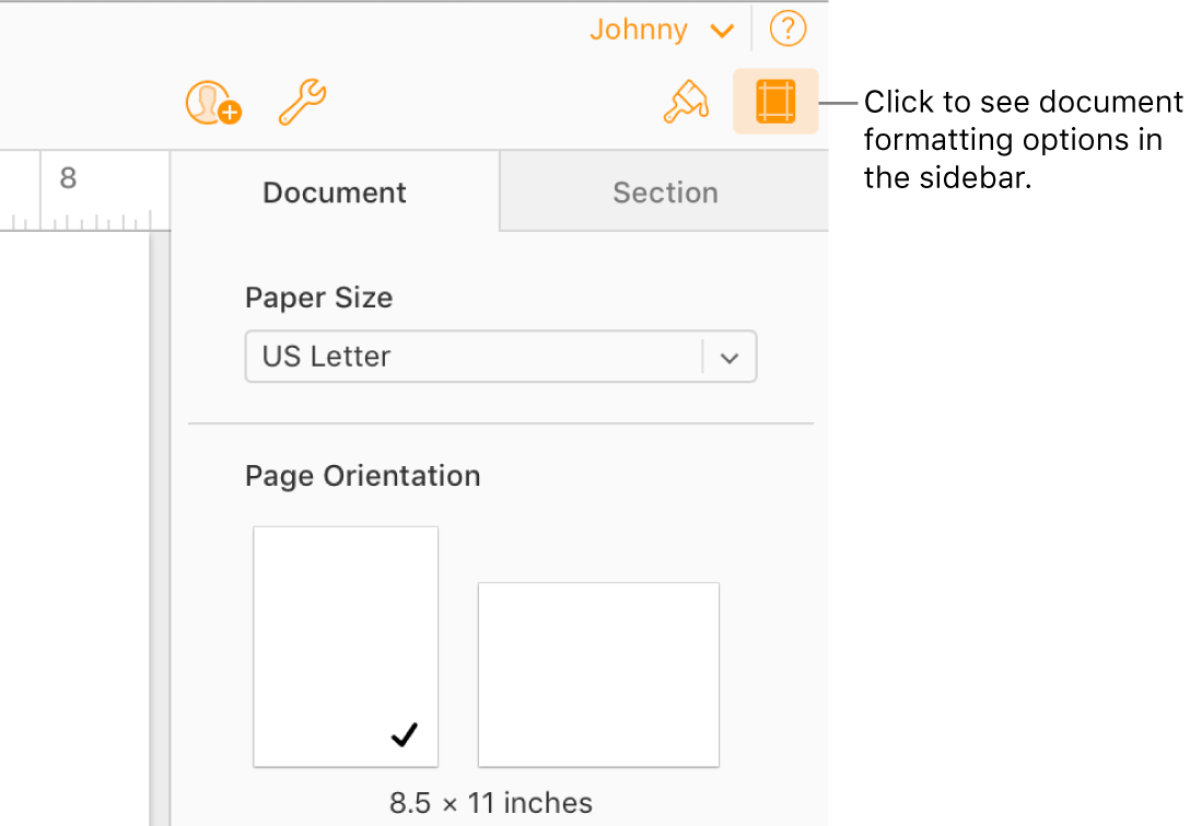 The Document button is selected in the toolbar, and controls for changing the paper size and orientation appear in the Document tab of the sidebar.