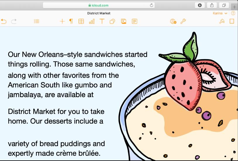 Image d'un dessert dans un document et texte suivant la courbe de l'image.