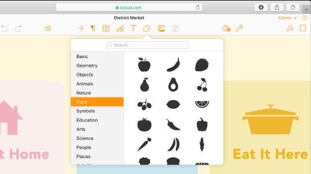 Shapes 팝오버가 열려 있고, 선택할 수 있는 모양 카테고리 목록이 표시되어 있습니다. Food 카테고리가 선택되어 있고, 선택할 수 있는 음식 모양의 이미지가 카테고리 오른쪽에 표시되어 있습니다.
