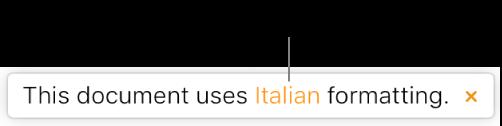 """Uma mensagem que indica """"Este documento utiliza formatação italiana""""."""