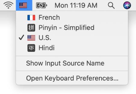 O menu Tipos de teclado na parte superior direita da barra de menus está aberto e apresenta o número de idiomas disponíveis.