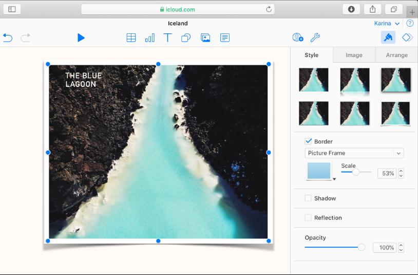 L'image sélectionnée dans la diapositive possède une bordure autour du cadre, et l'onglet Style de la barre latérale Format est ouvert montrant l'option Cadre d'image sélectionnée depuis le menu de la bordure.