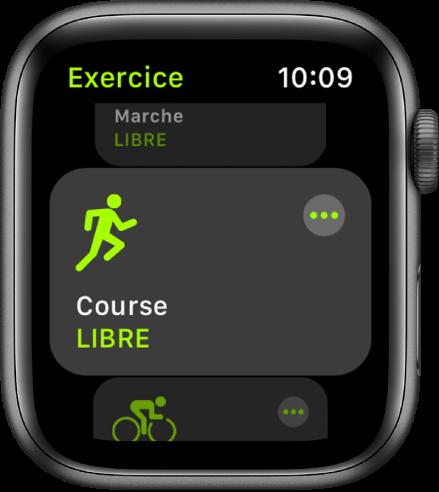 L'écran Exercice avec l'exercice Course en extérieur mis en évidence.