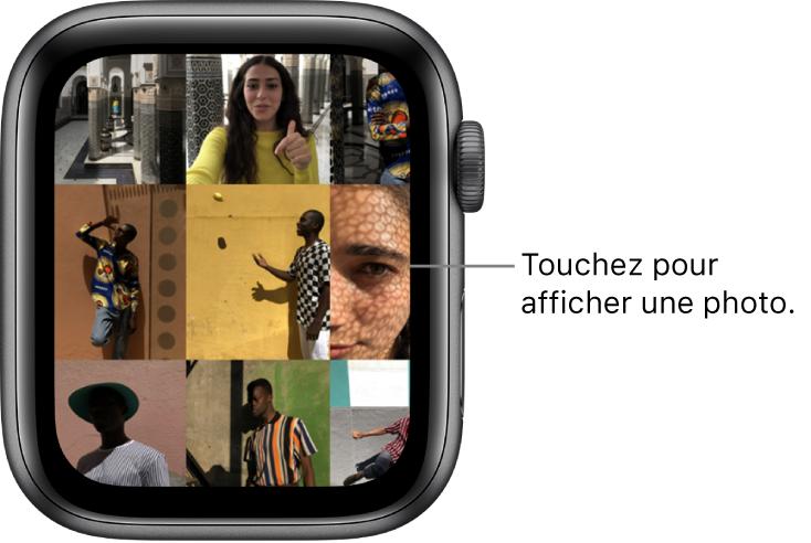 Écran principal de l'app Photos sur l'AppleWatch, avec plusieurs photos dans la grille.