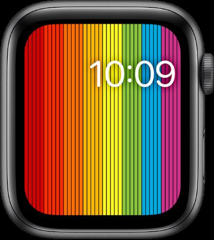 縦のレインボーストライプが表示された「プライドデジタル」の文字盤。右上に時刻が表示されています。
