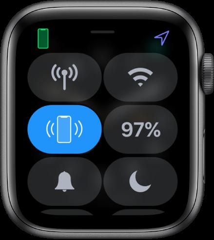 왼쪽 중앙에 iPhone에 핑 버튼이 표시된 제어 센터.